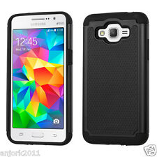BLACK/BLACK ANTI-SLIP SHOCKPROOF CASE DUO LAYER COVER FOR SAMSUNG GRAND PRIME