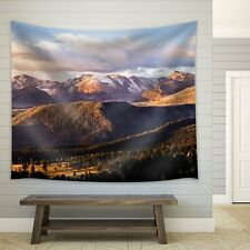 Wall26 - Clouds Over Mountains Filled with Pine Trees - Fabric Tapestry - 51x60