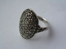 Stunning Vintage Art Deco Style Silver Marcacite Ring Oval Shaped - Size K