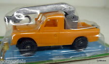MMF TOYS - VINTAGE PLASTIC FRICTION LAND ROVER ON CARD - ORANGE WITH CRANE HOOK