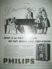 PUBLICITE DE PRESSE PHILIPS T.S.F. SUPER-INDUCTANCE 637 FRENCH ADVERTISING 1935