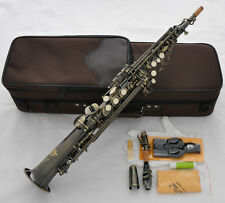 Professional TaiShan Antique Soprano Saxophone Bb High F# Straight Sax With Case