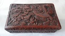 Superb Antique Chinese Carved Dragon Cinnabar Lacquer Box