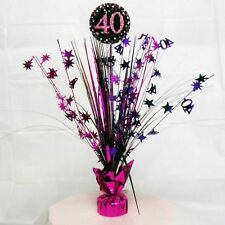 Pink, Silver and Purple 40th Happy Birthday Party Foil Centerpiece - 9900599
