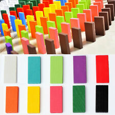 240Pcs 10Color Wooden Bright Tumbling Dominoes For Kids Play Games Fun Toy Gift
