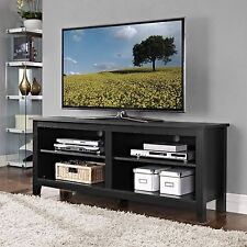 Walker Edison Furniture 58-Inch Wood TV Console, Black - W58CSPBL New