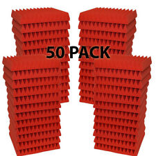 "50 Pack Soundproofing Acoustic Wedge Foam Tiles Wall Panels 12"" X 12"" X 1"" (RED)"