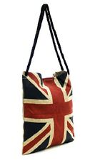 New Old Union Jack British United Kingdom England English Flag Burlap Tote Bag