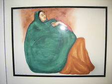VINTAGE R.C.GORMAN TILE ART - INDIAN WOMAN IN GREEN/ORANGE-SIGNED - 12x12 INCHES