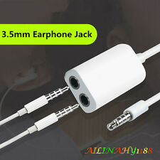 3.5mm 1 Male To 2 Female Plug Jack Earphone Headset Splitter Adapter Cable White