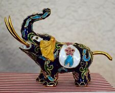 VINTAGE  GOLD Cloisonné ELEPHANT Chinese Champlevé Enamel Trunk Up GOOD LUCK