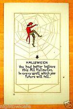 Jester in Spider Web Spider FUTURE SPELL Nash HALLOWEEN H-29 Vintage Postcard