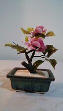 Oriental  Small Jade Bonsai Tree with Stone Glass Pink Flowers