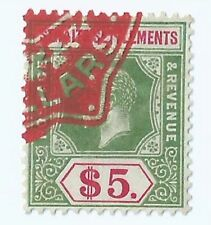 Stamps - 1912-33 Malaya Straits Settlements George V $5 Revenue stamp duty (B)