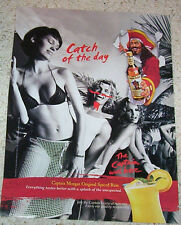 2002 ad page - Captain Morgan Rum SEXY GIRL bikini pirate mustache PRINT ADVERT