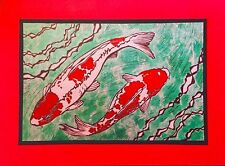5 Handmade Koi Fish Note Cards Stationery with Envelopes Pond Block Print Red