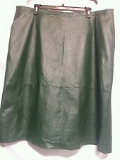 Dark Green Leather straight pencil knee lgth skirt  30W