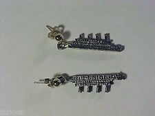 TITANIC Ship Replica DANGLE EARRINGS with STERLING SILVER Ball Posts
