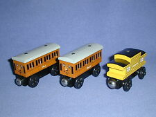 ANNIE & CLARABEL Coaches & Yellow CABOOSE train lot Thomas Wooden Railway GREAT