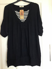 Nursing / Breastfeeding Black With StripeTop Double Layer Black BNWT M / UK 10