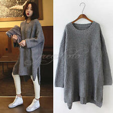 Womens Knit Sweater Dress Split Casual Long Sleeve Pullover Jumper Slim Dress