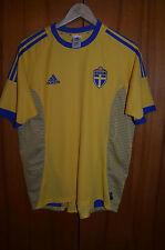 SWEDEN 2002 WORLD CUP HOME FOOTBALL SHIRT JERSEY CAMISETA ADIDAS LARSSON ERA
