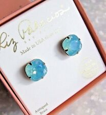 LIZ PALACIOS USA Swarovski Crystal 12 mm sea green-blue cushion cut stud earring