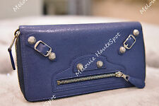 AUTH BALENCIAGA BLUE GIANT SILVER GSH STUD ZIPPED AROUND LEATHER WALLET NEW