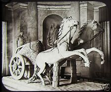 Glass Magic Lantern Slide THE BIGA STATUE VATICAN C1890 ROME ITALY ROMAN CHARIOT
