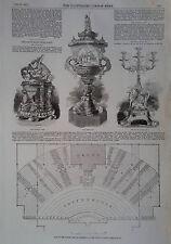 1857 stampa Handel Festival Orchestra Piano al palazzo di cristallo-PIASTRA Ascot RACE