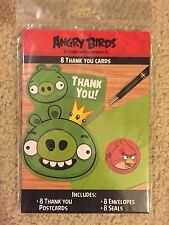 Angry Birds 8 Thank You Note Cards Birthday Party Supply Favors NIP