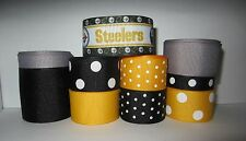GROSGRAIN PITTSBURGH STEELERS FOOTBALL RIBBON LOT FOR MAKING BOWS 10 YARDS