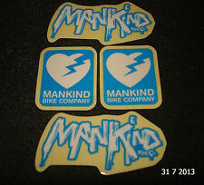 4 SMALL AUTHENTIC MANKIND BMX BIKE COMPANY FRAME STICKERS #33 DECALS AUFKLEBER