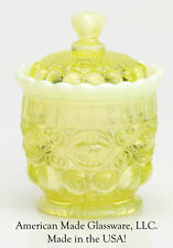 Vaseline Opalescent Glass Eyewinker Pattern Sugar Bowl - Mosser