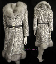 Fluffy Gorgeous Chevron Sapphire White MINK FOX Fur Leather Belted COAT Jacket