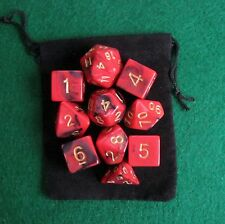 NEW Dragon Fire (Red) RPG D&D Dice Set: 7 + 3d6 = 10 polyhedral die plus bag!
