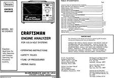 Sears Craftsman Engine Analyzer for 12 & 24 Volt Systems Owners Manual (Model No