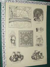 1845 Stampa ~ piano di Roman Londra tassellate pavimentazione MONETE ROMANE BAGNO VASI