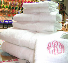 MONOGRAMMED12 PIECES WHITE TOWELS SET-100% COTTON-GRANDEUR HOSPITALITY.