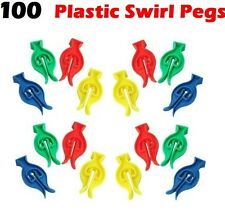 100 x Plastic Swirl Cyclone Clothes Pegs Multicolour Resistant to Rust & Moistur