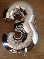 """Large 34"""" Foil Number Balloon """" 3 """". Metallic Silver Party Birthday Anniversary"""