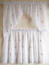 Chic 3D Little Pink Pepper Embroidery Sheer Café Curtain 4 Pieces