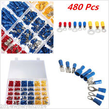 480pc Assorted Insulated Car Electrical Wire Crimp Terminal Connectors Spade Set