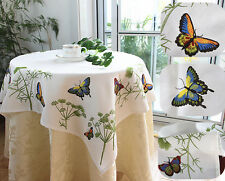 Beautiful Butterfly Leave Trail Embroidery Square Table Cloth