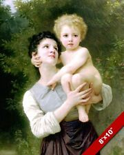 YOUNG SISTER OR MOTHER HOLDING LITTLE BOY BROTHER OIL PAINTING ART CANVAS PRINT