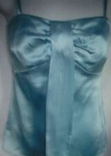 ANN TAYLOR 10 TURQUOISE BLUE SILK CAMI SHIRT TUBE TOP equal casual SOLID m