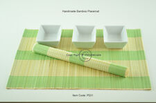6 Bamboo Placemats Handmade Table Mats, Light Green - Cream (Natural) P031