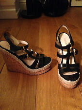 Summer Sandals Prada strappy black wedge shoes with gold buckle, UK 8, EU 41
