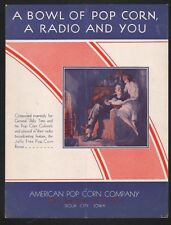 A Bowl of Pop Corn A Radio & You 1930 Advertise Jolly Time Pop Corn Sheet Music