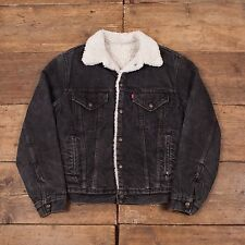 "Mens Vintage Levis Red Tab Fur Lined Denim Sherpa Jacket Black S 36"" R4506"